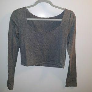 Gray crop top with geometric neckline